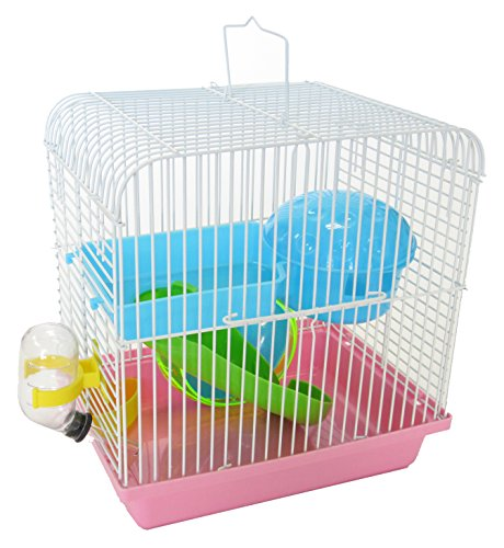 YML Dwarf Hamster Mice Travel Cage with Accessories, Pink