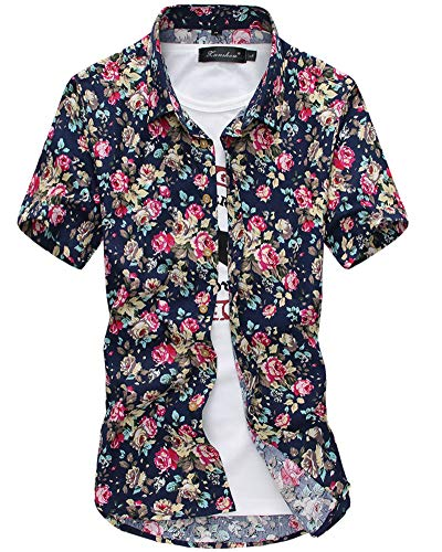 Mens Short Sleeve Floral Shirt - Casual Button Down Tops Slim Fit Blouse M