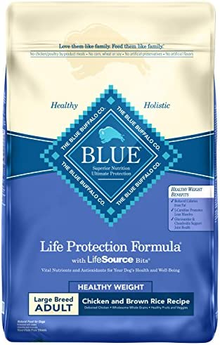 Blue Buffalo Life Protection Formula Healthy Weight Large Breed Dog Food Natural Dry Dog Food for Adult Dogs Chicken and Brown Rice 30 lb. Bag