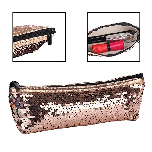 ae40a9e0c1dd Bling Sequin Cosmetic Bag, Women's Glitter Reversible Mermaid Sequins  Cosmetic Handbag Double Color Pencil Case DIY Shining Evening Bag for  School ...