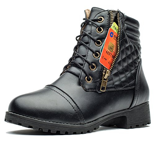 MORNISN Women Military Combat Ankle Boots Lace up Side Zippers Winter Boots with Credit Card Pocket (Boots Women Military Ankle)