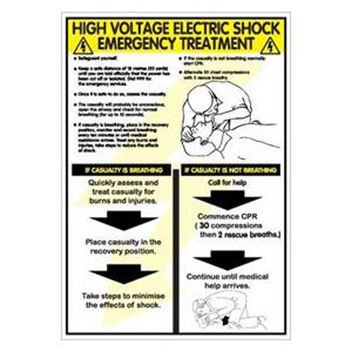 Bryson WC161'High Voltage Electric Shock Emergency Treatment Poster, 600 mm Width, 420 mm Length