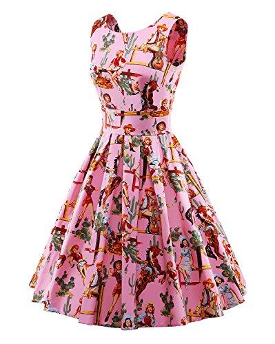 LaoZan Retro Vestido de Swing Sin Mangas Vestido Casual Vestido de fiesta Vestido de Coctel M Pink Pink