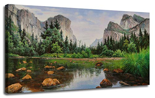 """Ardemy Canvas Wall Art Prints Mountain Lake Picture Yosemite National Park Painting,Landscape Natural Artwork Framed Panoramic Extra Large Mural for Home Bedroom Living Room Office Decor, 48""""x24"""""""