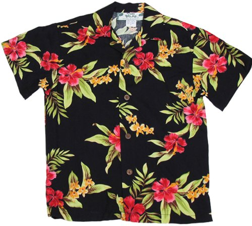 Two Palms Boys Mini Hibiscus Rayon Shirt Black 14 by Two Palms