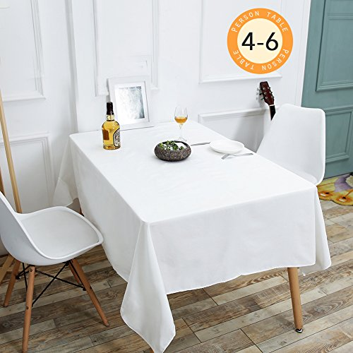 Linen Oval Drop - Wimaha 52x70In Solid White Rectangle Tablecloth for Rectangular Table, Fabric Table Cloth, Polyester Table Linens, for Home Kitchen Picnic as well as Wedding Party Event Supplies