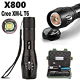 Bright Flashlight,Leegor 3000 Lumens G700 X800 Zoomable XML T6 LED Tactical Flashlight+18650 Battery+Charger+Case, 5-Mode Adjustable Brightness And Adjustable Focus