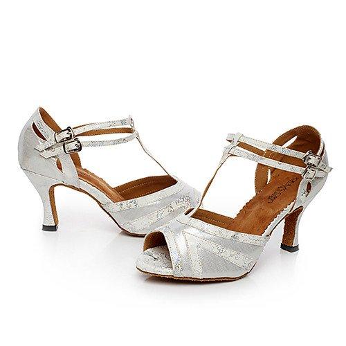 moderne Practice da Q pelle Jazz Sneakers ballo latini Sandali Tango grosso in donna Oro T da Performance dorati Scarpe T Tacco Salsa Swing Indoor TRwqx5Fv8X