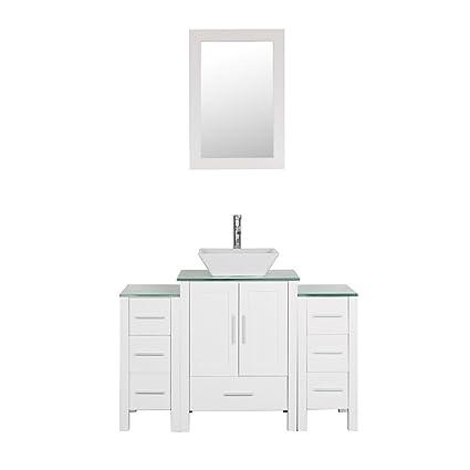 Goodyo 48 Inches White Bathroom Vanity Cabint Combo With 1 Main