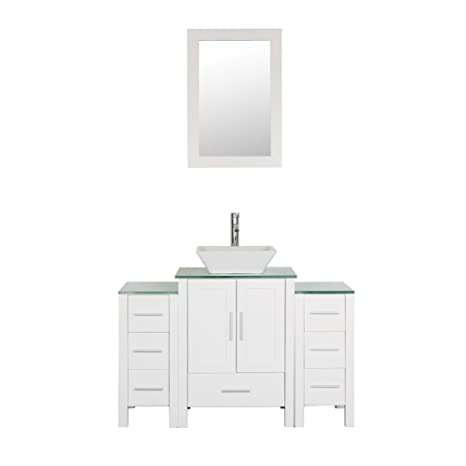 Astonishing Goodyo 48 Inches White Bathroom Vanity Cabint Combo With 1 Main Cabinet And 2 Side Cabinets Tempered Glass Countertops Interior Design Ideas Tzicisoteloinfo