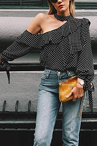 Top Camicie Spalline Senza Black Donne Zeppa Pois Stropicciate Camicetta qS4nwvz