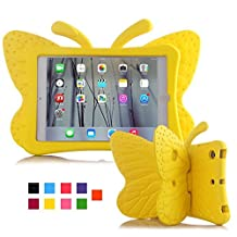iPad mini 4 case, Feitenn Non-toxic Light weight 3D Cartoon Butterfly EVA Shockproof Drop proof Stand Case for Ipad mini 2 / ipad mini 3 / ipad mini 4 case (Yellow)