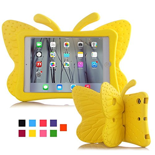 Feitenn iPad Mini 5 Case for Kids, 3D Cute Cartoon Butterfly Cover Non-Toxic EVA Foam Kickstand Kid-Proof Shockproof Bumper Girl Boy Gift for Apple New iPad Mini 5th Gen (iPad 5/6/pro 9.7, Yellow)