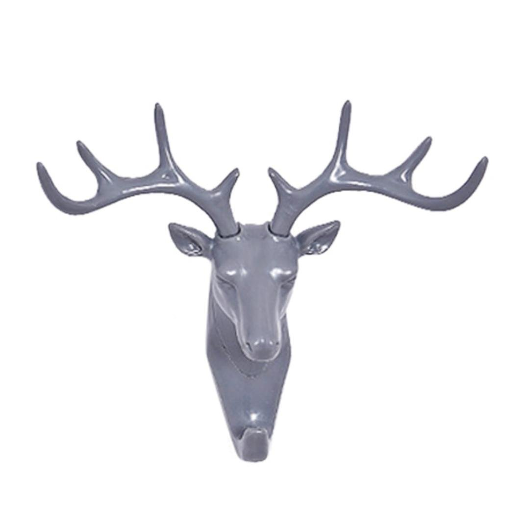 Sumen Deer head ABS Self Adhesive Wall Hooks Door Hook Hanger Bag Keys Sticky Holder For Living room bedroom (Gray, 17*18.5cm)