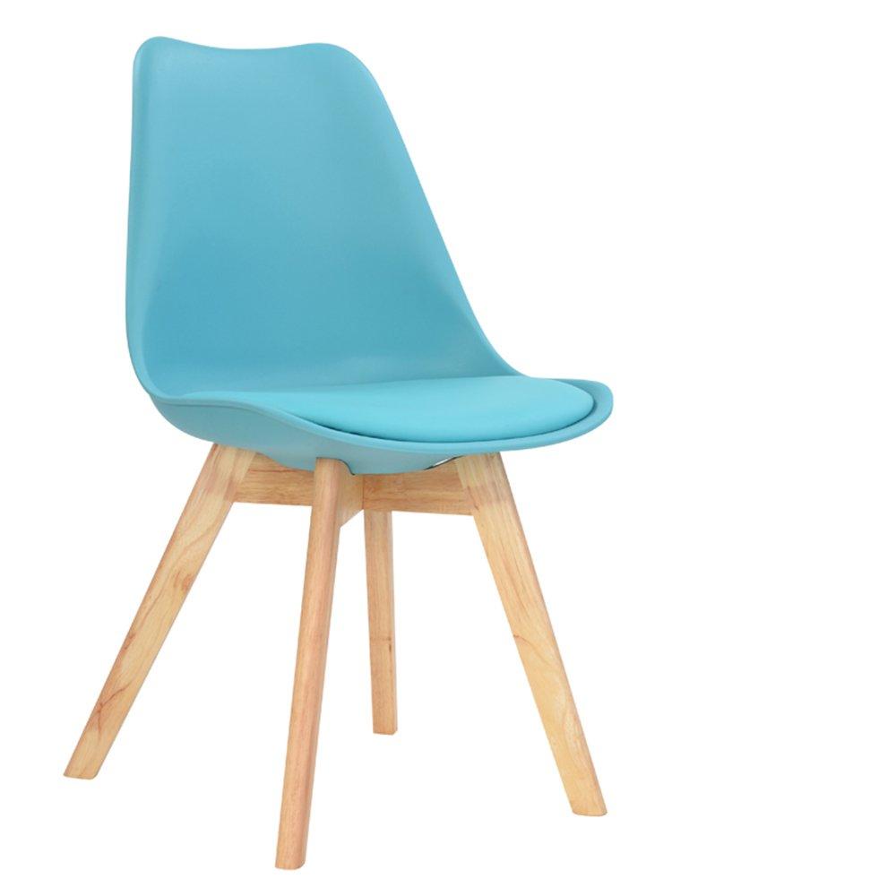 木製のダイニングチェア、ホームレジャーチェア、レセプションデスクとチェア、バック会議室コンピュータチェア ( 色 : 青 ) B07BGYZGP4 青 青