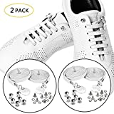 SevenUp 2 Pack Elastic No Tie Shoelaces Shoestrings, Super Stretch Nylon Shoe Laces, 39.4 inches, Best Lock Shoelaces for Kids and Adults, Fit Most Shoes (2 Pack - White 2)