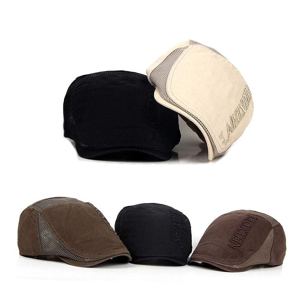 Tian Fan Ni Beret Mens Flat Cap lvy Cap Newsboy Cap Adjustable Gatsby hat Cotton Shooting Hat