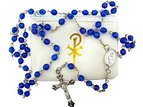 Moulded Rosary Beads - Blue Acrylic Prayer Bead Miraculous Medal Rosary in Chi Rho Vinyl Case, 20 Inch