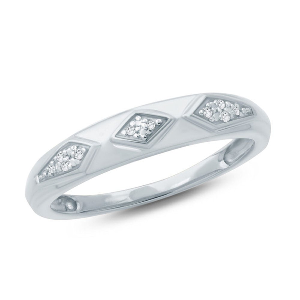 2heart Accent Ladie's Wedding Band Ring 14K White Gold Pl Silver 0.05 Ct D/VVS1 Diamond