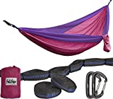 Hammock – Camping Double Hammock- Portable Parachute Nylon Hammock With Tree Straps & Alloy Carabiners For Backpacking Garden, Backyard,Hiking &Traveling (Fuchsia/Purple, DOUBLE)