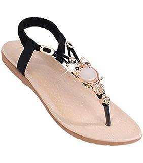 ef995c765d55 YOUJIA Women Beaded Boho Beach Round Clip Toe Sandals Flip Flops Flat Elastic  T-Strap