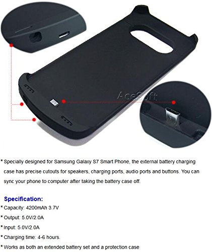 The New Generation 4200mAh Rechargeable Detachable Backup Battery Charger Power Bank Case for Samsung Galaxy S7 SM-G930T T-Mobile Android Phone