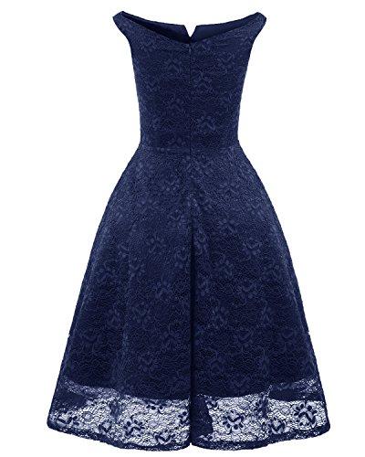 con Bardot de Encaje Ceremonia Midi Fiesta en Vestidos V Bright Azul de Mujer de Deer escote Vestido wqxvS6CY