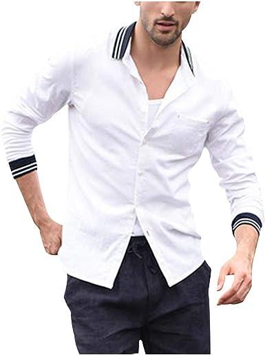 CAOQAO Camisa Hombre Manga Larga Hombres Vintage Color Puro Botón Lino Sólido Manga Larga Camisas Retro Tops Blusa: Amazon.es: Ropa y accesorios