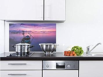GRAZDesign Spritzschutz Küche Glas Boot - Wandpaneele Küche Ruhe -  Fliesenspiegel Küche Landschaft - Küchenrückwand Glas Natur / 80x50cm / ...