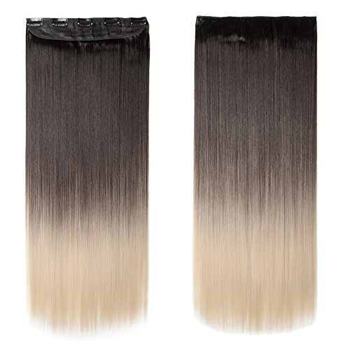"S-noilite 24""/26"" Gradient Straight Curly 3/4 Full Head One Piece Clip in Hair Extensions Dip Dye Ombre Synthetic Hairpieces (26""-Straight, Dark Brown to Bleach Blonde)"