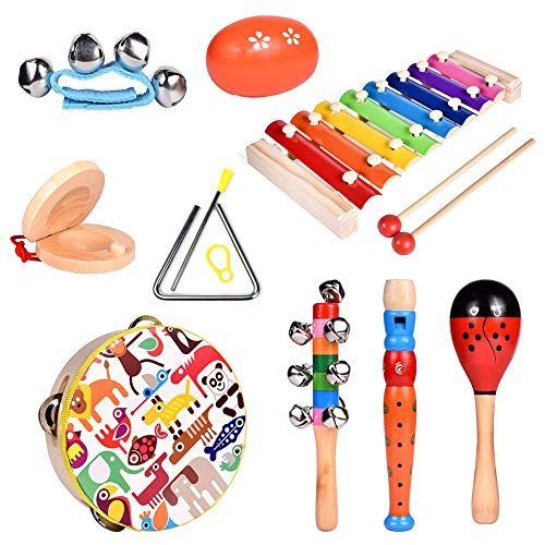 Ownest 12Pcs Toddler Musical Instrument Toy Set, Wooden Percussion Instruments with Xylophone and Tambourine for Preschool Educational and Children,Music Party Supplies