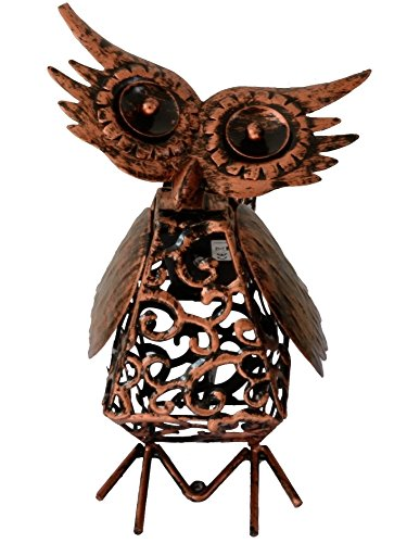 Solar Light Outdoor /Garden Decorative Bronze Metal Silhouette Animal- BroGarden Cute Owl Figurine Decor