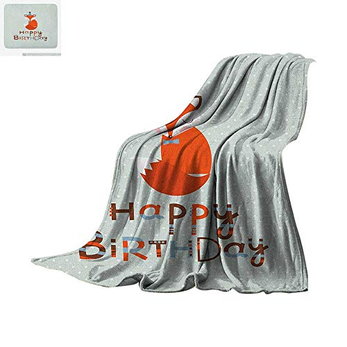 Birthday Super Soft Lightweight Blanket Cute Fox Sleeping on Dotted Backdrop with Greeting Happy Message Custom Design Cozy Flannel Blanket 50