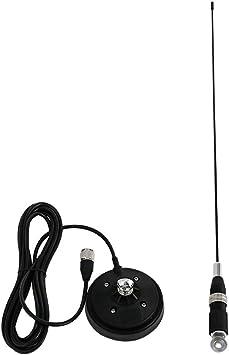Antena CB Radio Universal Larga EasyTalk CB-2702 HF 27Mhz 62CM Alta Ganancia Antena de Radio Móvil con Base Magnética 5M Cable Incluido para vehículo ...