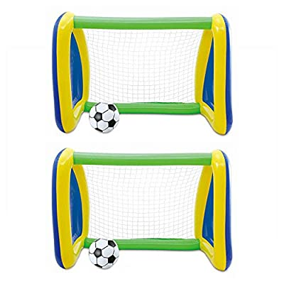 Summer Waves Two Pack: Big Play Sports Jumbo Inflatable Pool Goal and Ball Soccer Set