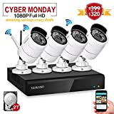 Yeskam Security Camera System 1080P HD Wireless IP Cameras and 4 Channel NVR Recorder with Motion Activated Mobile App Remote View for Outdoor Home Surveillance with 2TB Hard Drive