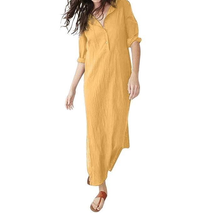 DEELIN Vestido De Las Mujeres, OtoñO Casual De Color SóLido De Manga Larga con Cuello