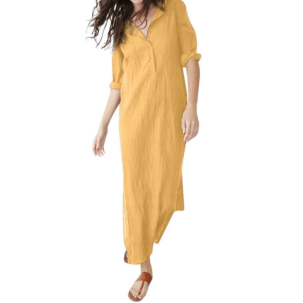 Polka dot Dress for Women,Women Autumn Casual Long Sleeve V-Neck Button Baggy Splits Maxi Dress,Suiting & Blazers,Yellow,M
