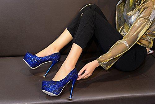 Mila Lady Fay Pizzo Ricamato Eleganza Sky-high Sparkles Piattaforma Lady Tacchi R.blu