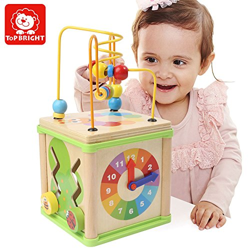 My First Activity  Bead Maze Cube,Top Bright 5-in-1 Wooden Cube Activity Center Multipurpose Educational Toys for Kids and (Bright Beads)