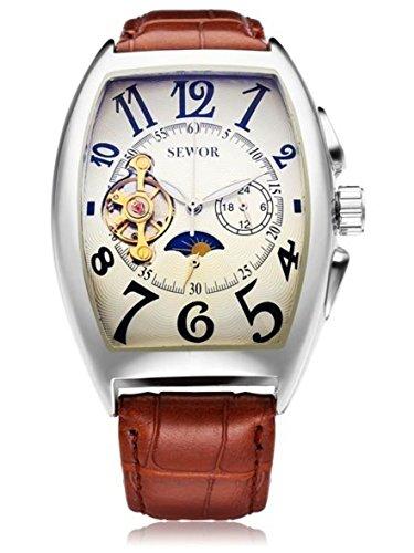 Rectangle Luxury Leather Mechanical Analog Men Wrist - Brandname Luxury