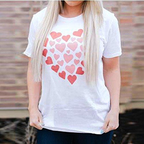 FAMILIZO Mujeres Simple De Manga Corta Tops Love Heart Impreso Casual Blusas