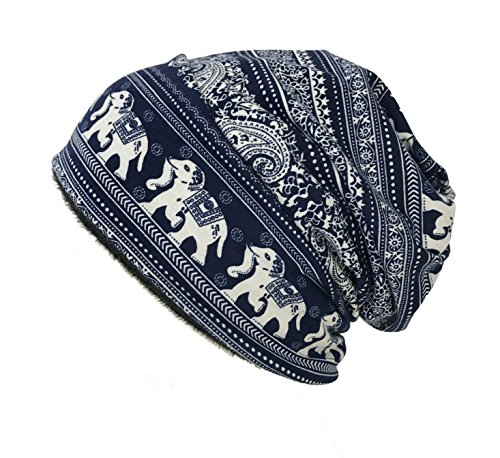W&Y YING Cotton Winter Warm Mens Womens Slouchy Beanie Hat Skull Cap(Grey+navy Animal)