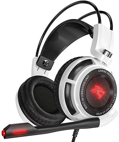 Sentey GS-4731 Virtual 7.1 USB DAC Arches with Vibration Intelligent 4d Extreme Bass Gaming Headphone with In-line Control – White