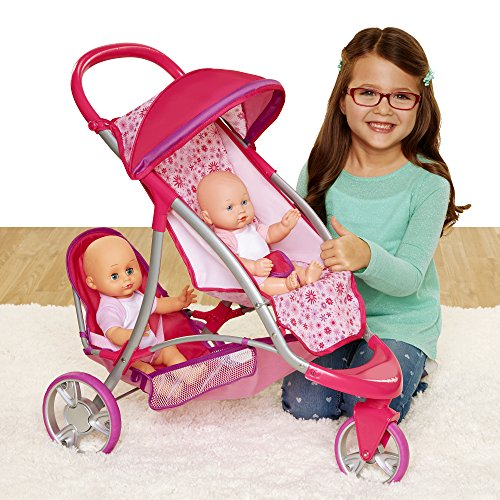 Chicco Double Jogger Stroller for Baby Dolls, 1-Pink,