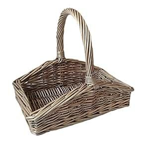 Red Hamper Rojo cesta pequeño Inclinado Sided Caja de envejecido de cesta de lavado para jardín, marrón, 55x 45x 45cm