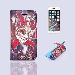 GX patrón patrón payaso pu cuero de la cubierta de cuerpo completo con el soporte y la película protectora para iPhone 6