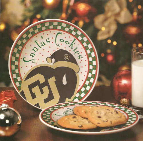 Memory Company NCAA University of Colorado Santa Ceramic Cookie Plate, One Size, Multicolor