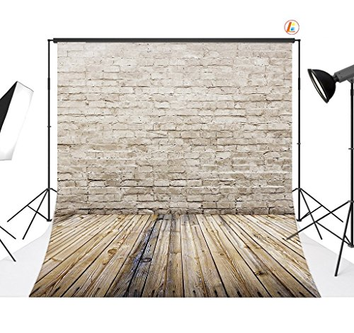 LB 5x7ft Brick Wall and Wooden Floor Vinyl Photography Backdrop Customized Photo Background Studio Prop ZZ44