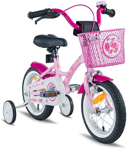 "PROMETHEUS Kids bike 12 inch Girls in pink purple & white with stabilisers | Aluminum Calliper brake and backpedal brake | including security package | as from 3 years | 12"" Classic Edition 2018 by PROMETHEUS BICYCLES®"